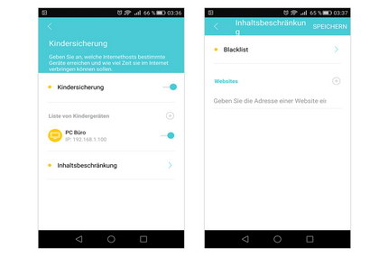 Tether-App: Kindersicherung + Blacklist